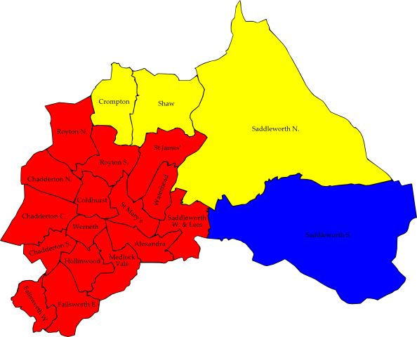 Map Of Oldham Map: Local Elections 2015   Oldham Map Of Oldham