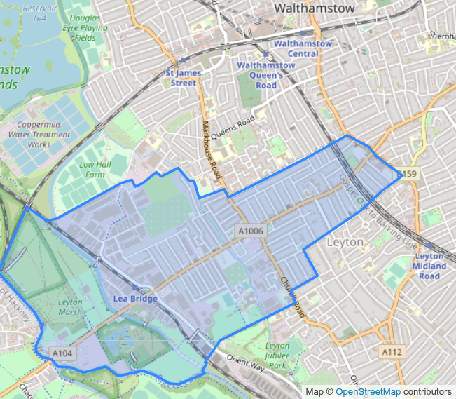Map of Lea Bridge ward